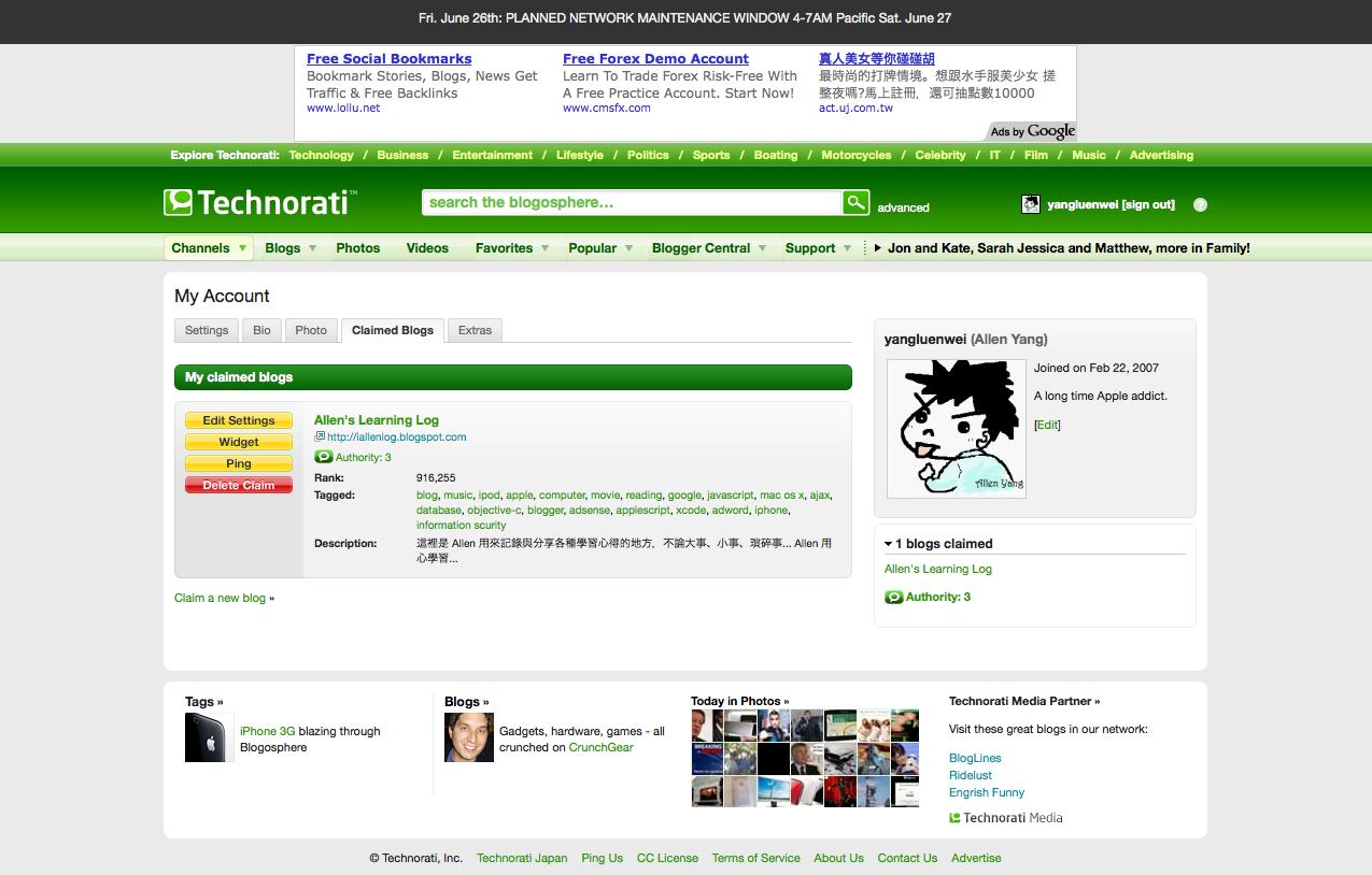 部落客可以在Technorati中宣揚自己的部落格