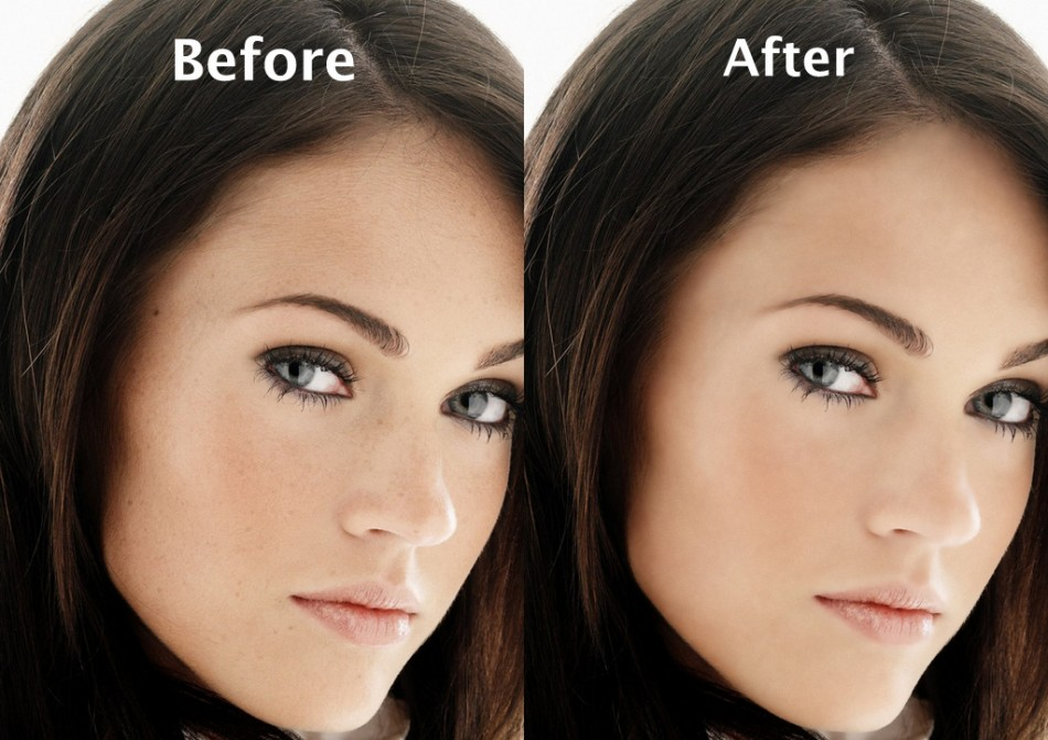 比較臉部修圖前與修圖後的照片