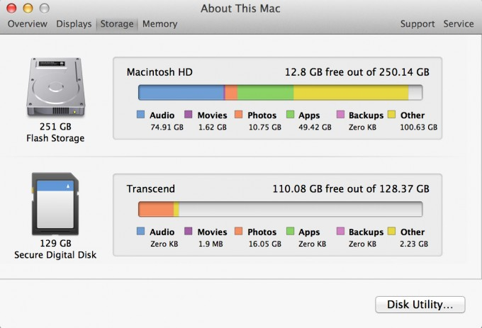 About This Mac - Storage
