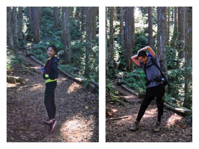 """進入登山口後,迎接我們的是茂密的杉木林,以及山泉水水管... 這應該就是""""水管路""""吧!"""