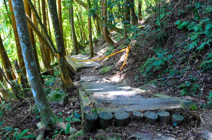 繞路上來後,可以來到壞掉的木棧道上~ 已綁起黃色的警戒線了!