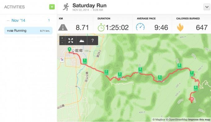 山路慢跑路線圖:苗栗公館至八角崠山(協雲宮),來回一趟約17.4公里,爬升高度約671公尺。