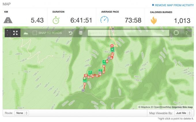 用Runkeeper紀錄的今天的加里山健行路線圖!